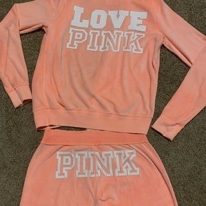Orange Velour PINK Track Suit